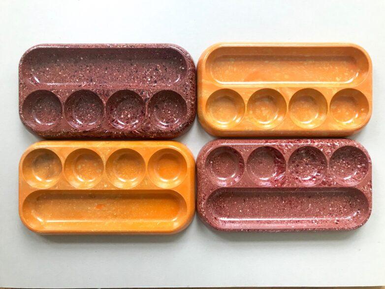 Bakelite Tray orange and dusty red