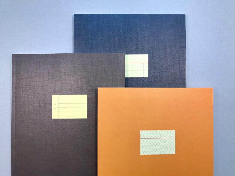 Large Notebook yellow, navy, brown