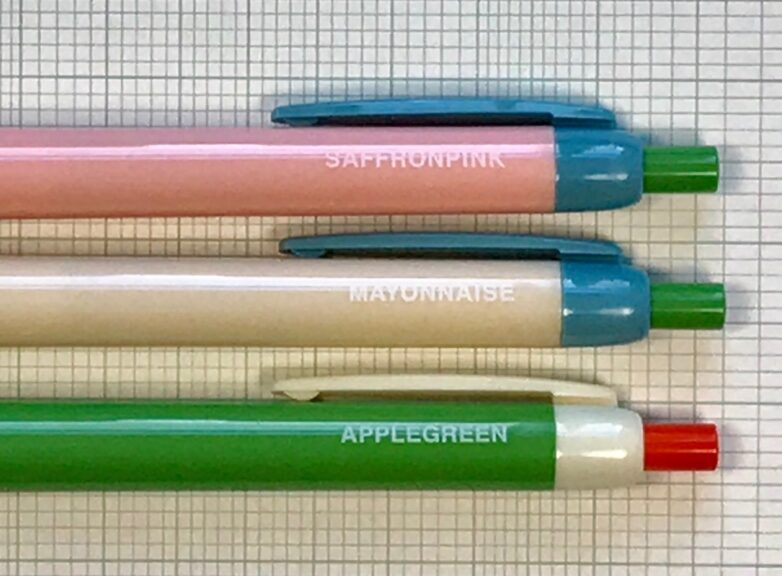 Point Pen pink, mayonnaise, green