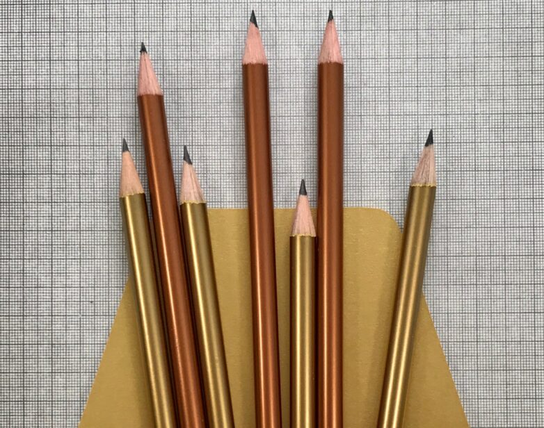 Shiny Pencil copper and gold
