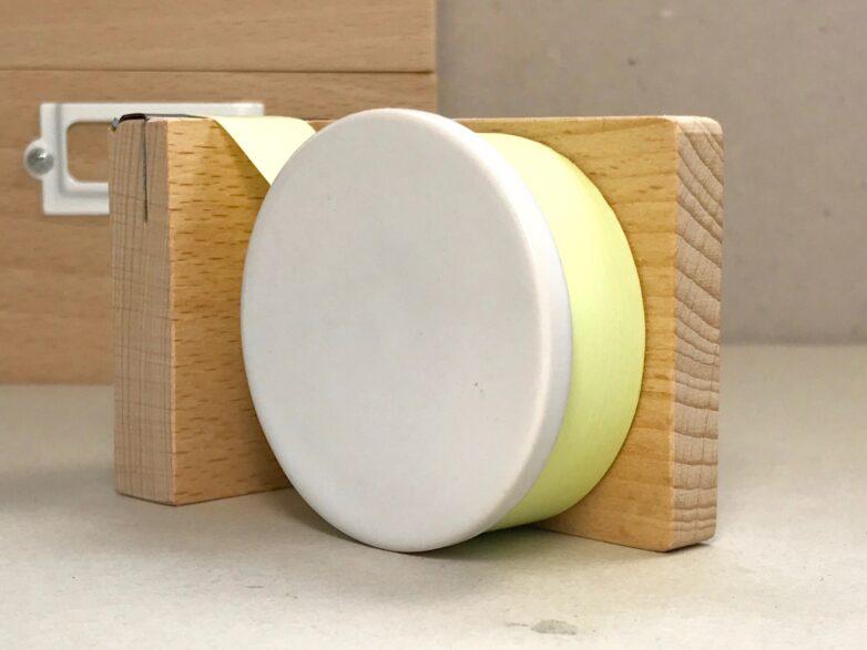 Tape Cutter Porcelain and Beech
