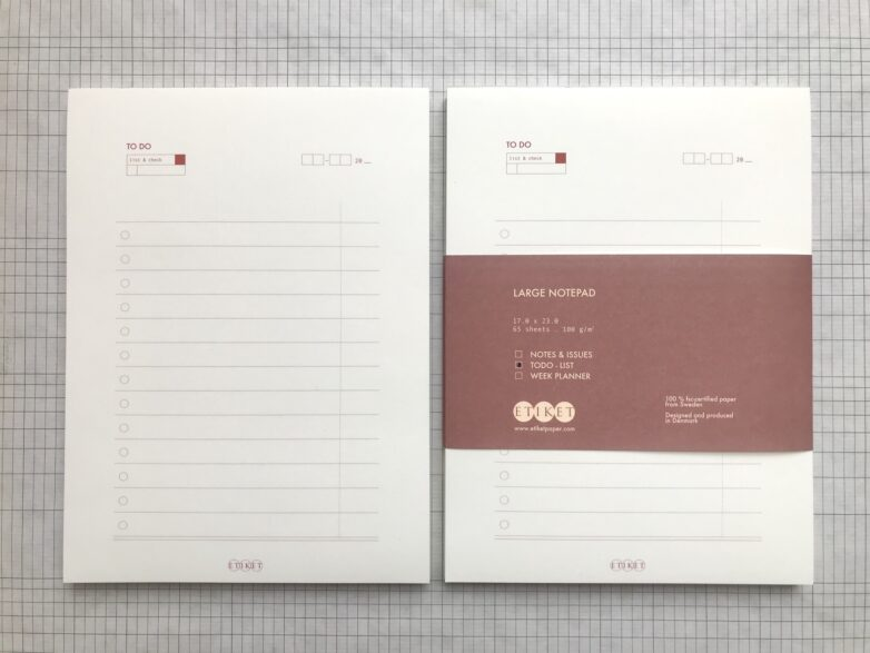 Notepad ToDo with and without paper tape